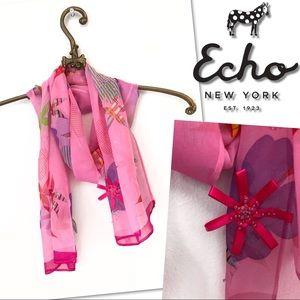 🆕 ECHO SILK PINK BEADED SEQUIN FLOWER SCARF